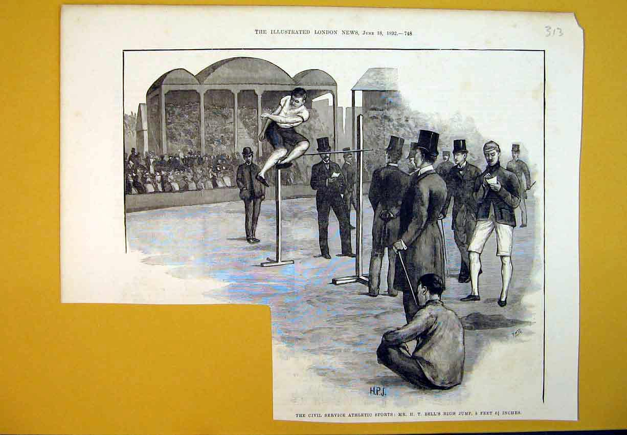 Print 1892 Civil Service Athletic Sports Bell'S High Jump Men 313B388 Old Original
