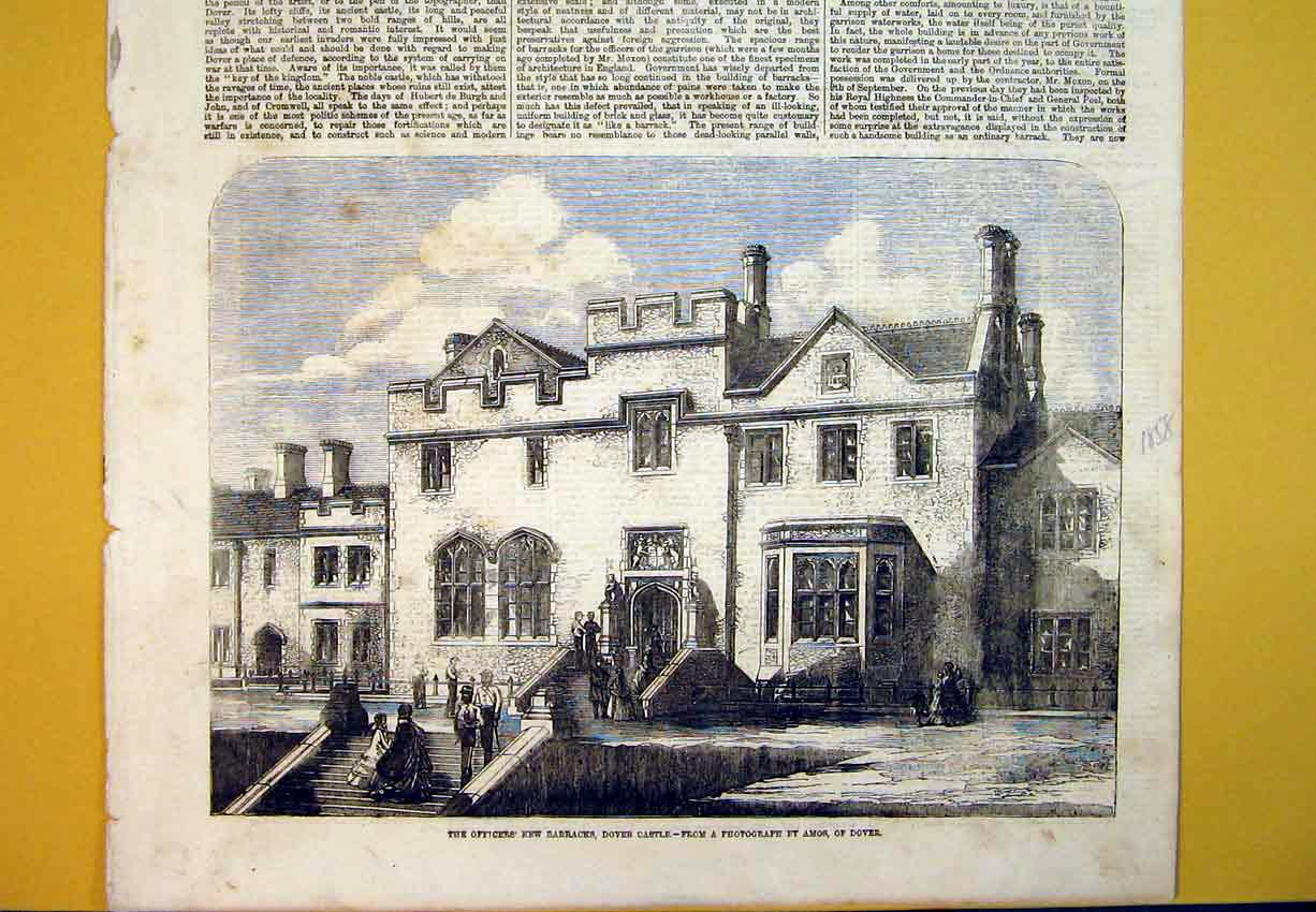 Print 1858 Officers New Barracks Dover Castle Buildings Amos 316B388 Old Original
