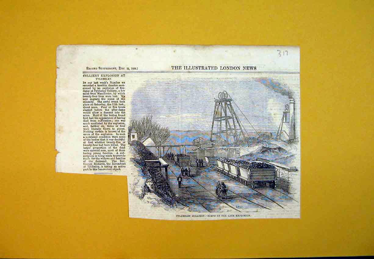 Print Tyldesley Colliery Explosion Scene 1858 Manchester 317B388 Old Original