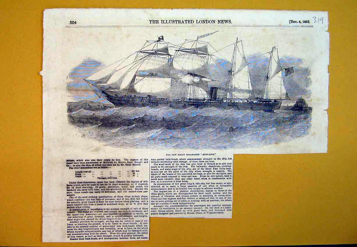 Print New Screw Steam Ship Adelaide 1852 Sailing Maritime 319B388 Old Original