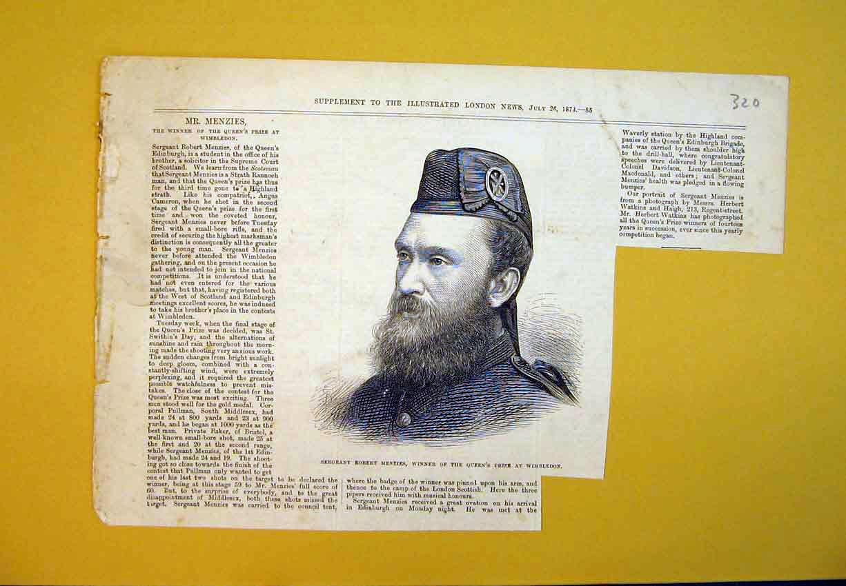 Print 1873 Portrait Sergeant Robert Menzies Queens Prize Army 320B388 Old Original