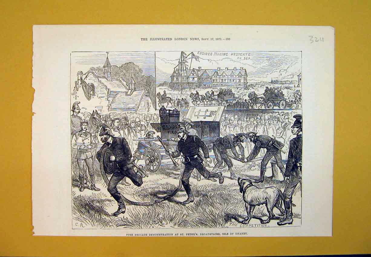 Print 1879 Fire Brigade St Peters Broadstairs Isle Thanet Men 324B388 Old Original