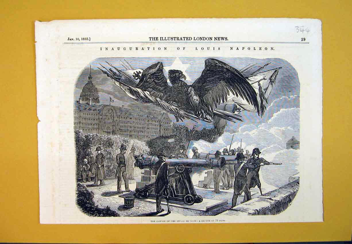 Print Cannon 1852 Inauguration Louis Napoleon War Army 344B388 Old Original