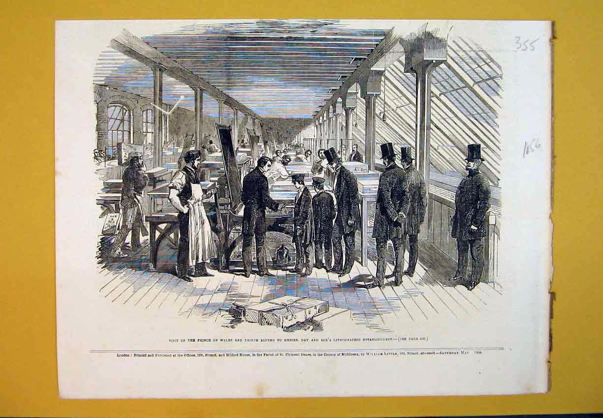 Print 1856 Prince Wales Alfred Lithographic Establishments 355B388 Old Original