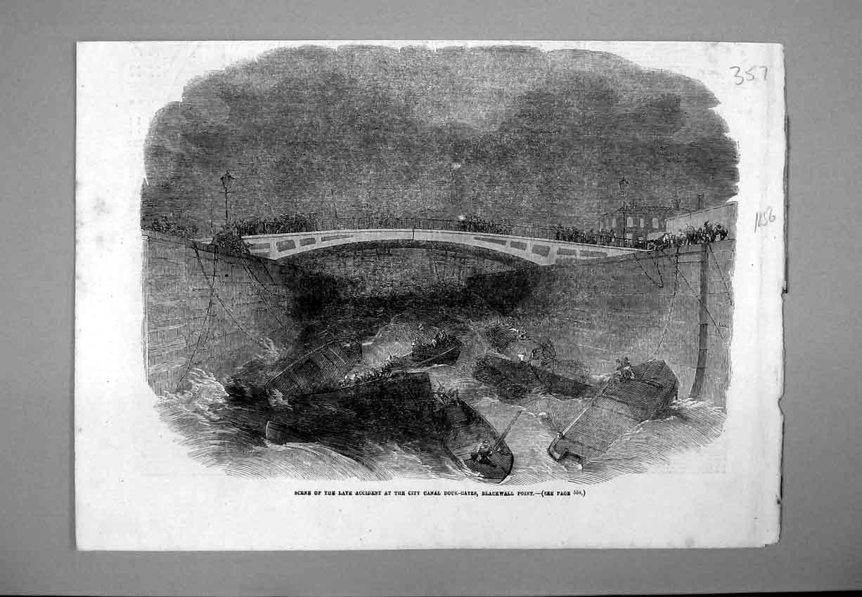 Print 1856 Accident Canal Dock-Gates Blackwall Boat Bridge 357B388 Old Original