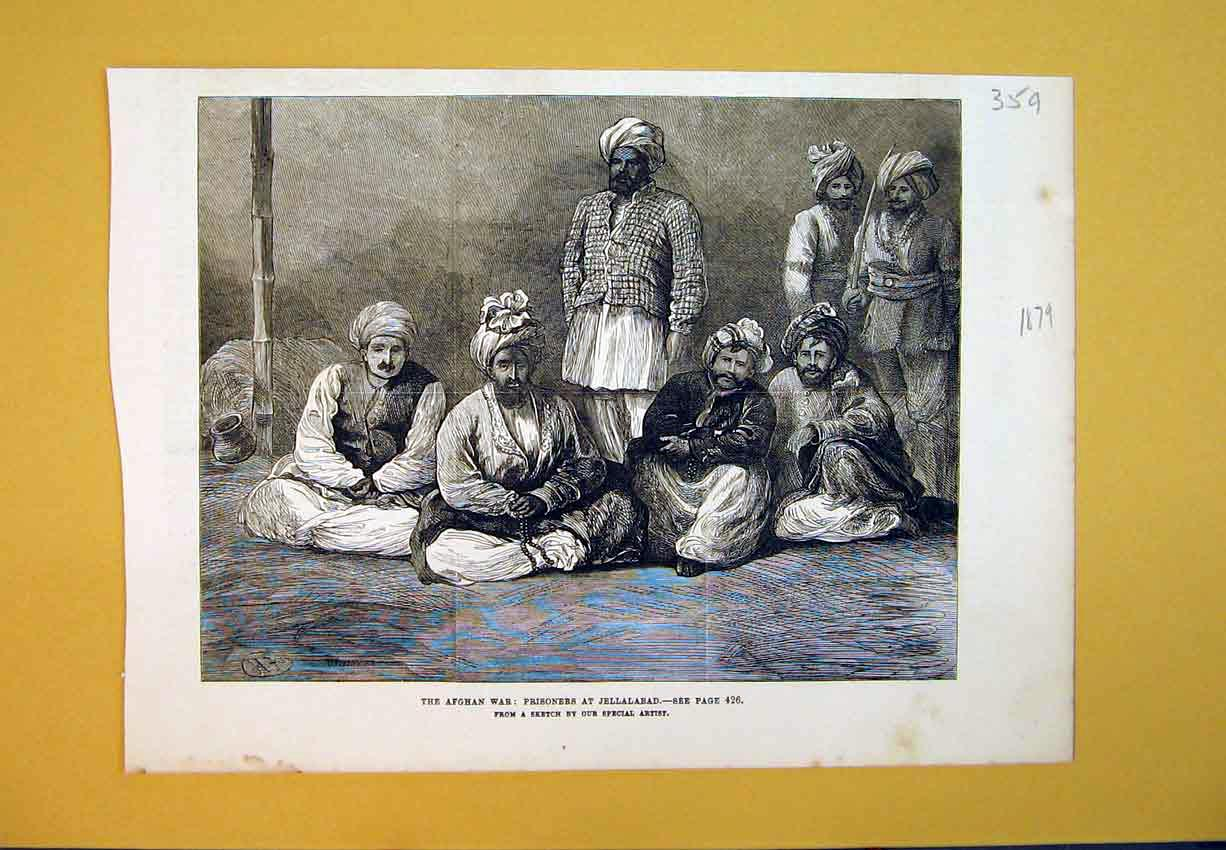 Print 1879 Afghan War Prisoners Jellalabad Sketch Men 359B388 Old Original