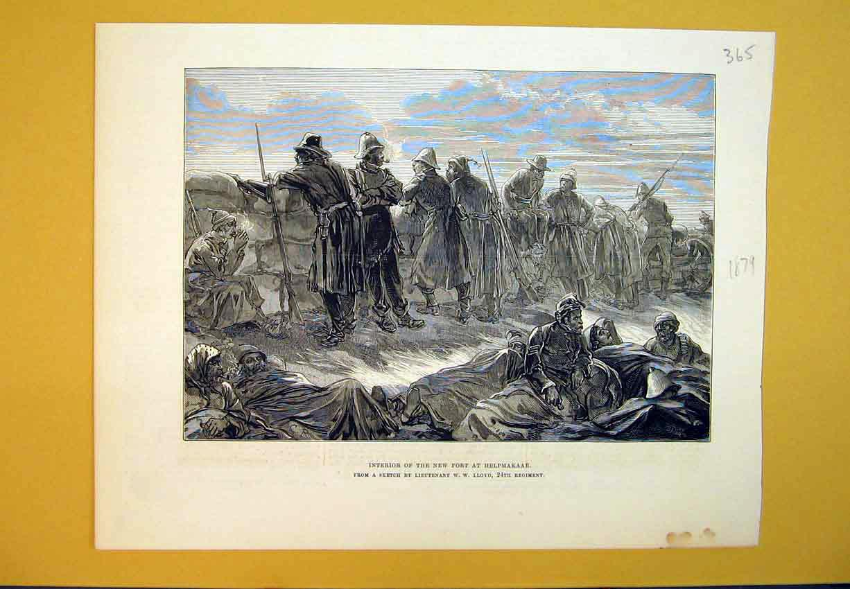 Print 1879 War Interior New Fort Helpmakaar Sketch Lloyd 365B388 Old Original