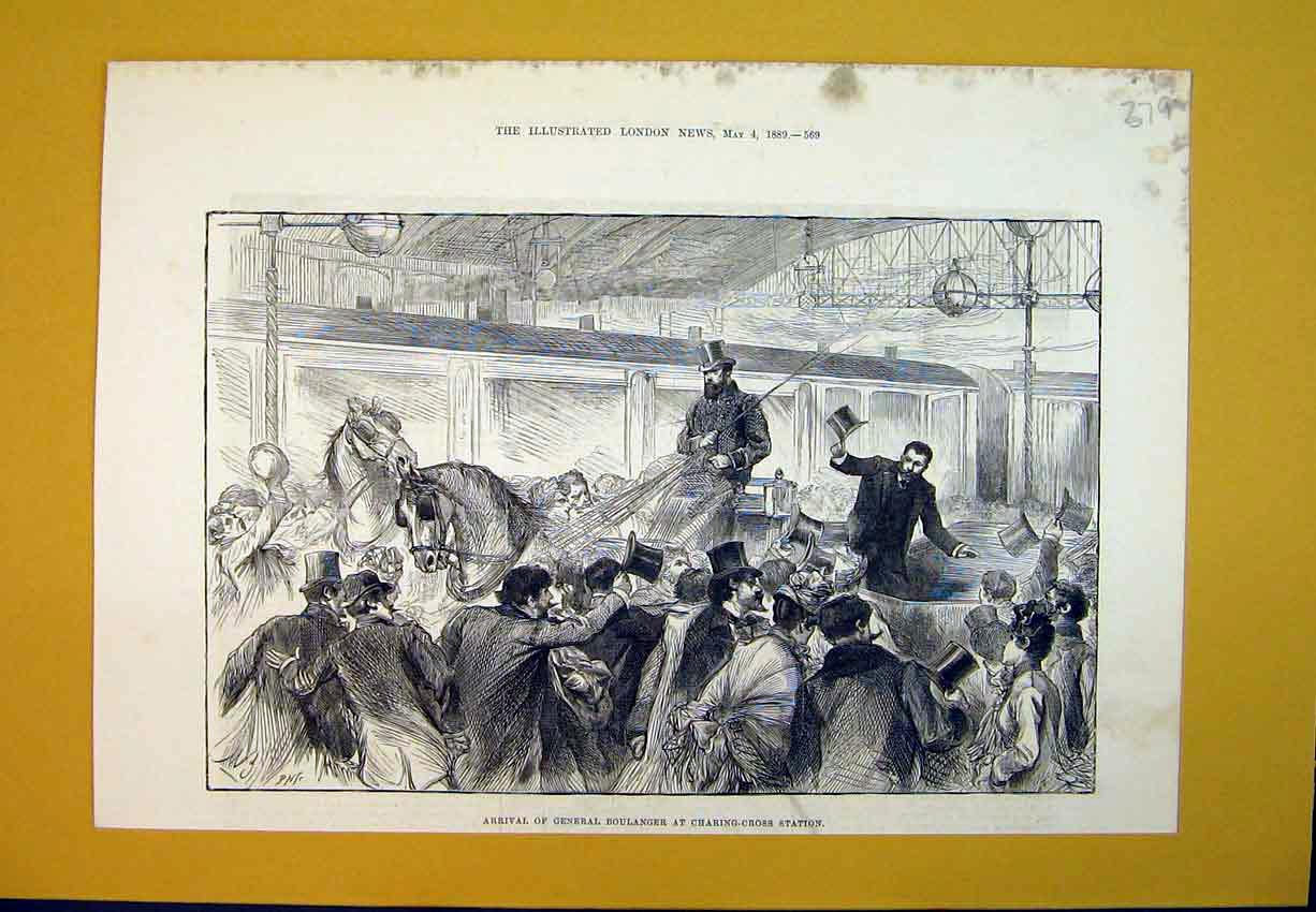 Print 1889 General Boulanger Charing-Cross Station Train 379B388 Old Original