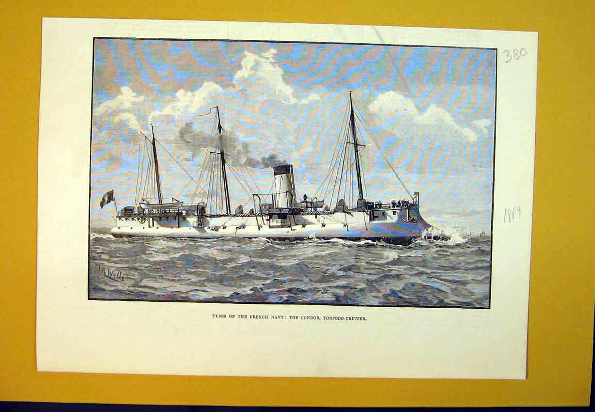 Print 1889 French Navy Condor Torpedo Cruiser Ship Maritime 380B388 Old Original