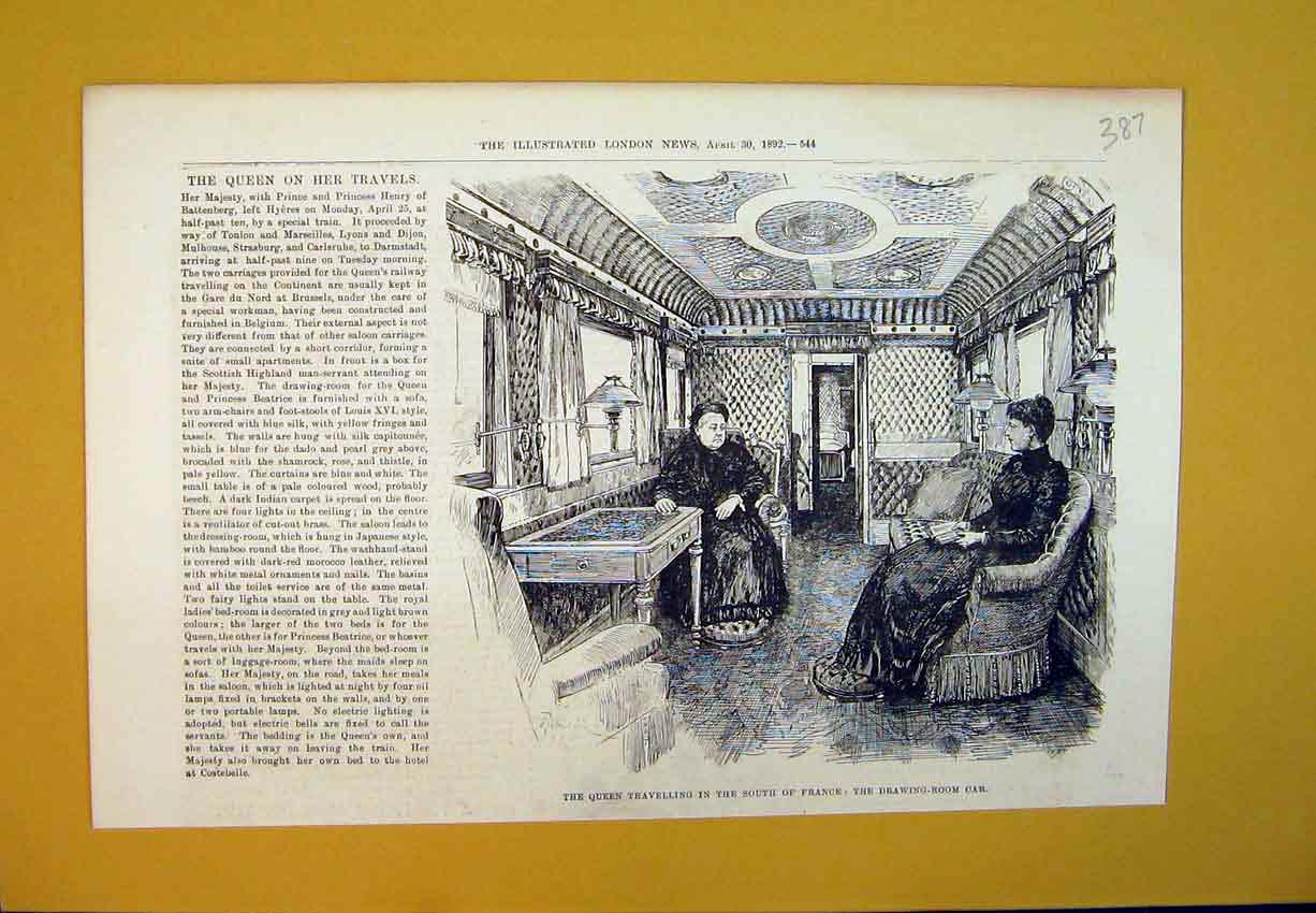 Print 1892 Queen Travelling France Railway Train Drawing-Room 387B388 Old Original