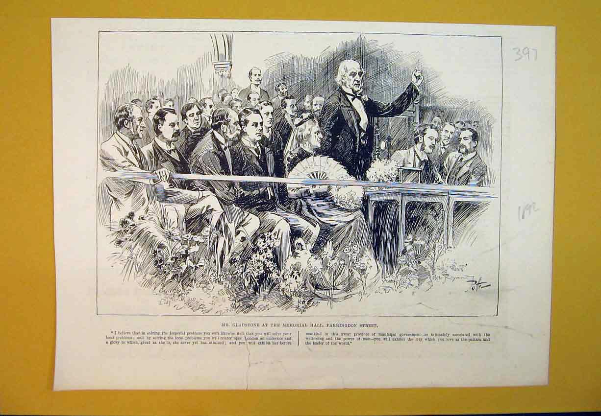 Print 1892 Mr Gladstone Memorial Hall Farringdon Street Man 397B388 Old Original