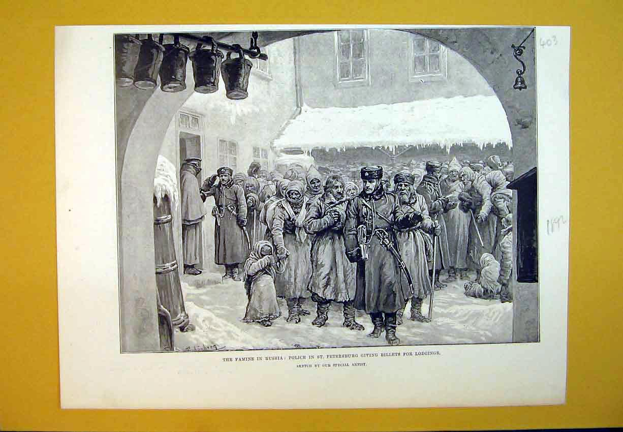 Print Famine Russia 1892 Police St Petersburg Billets Lodging 403B388 Old Original