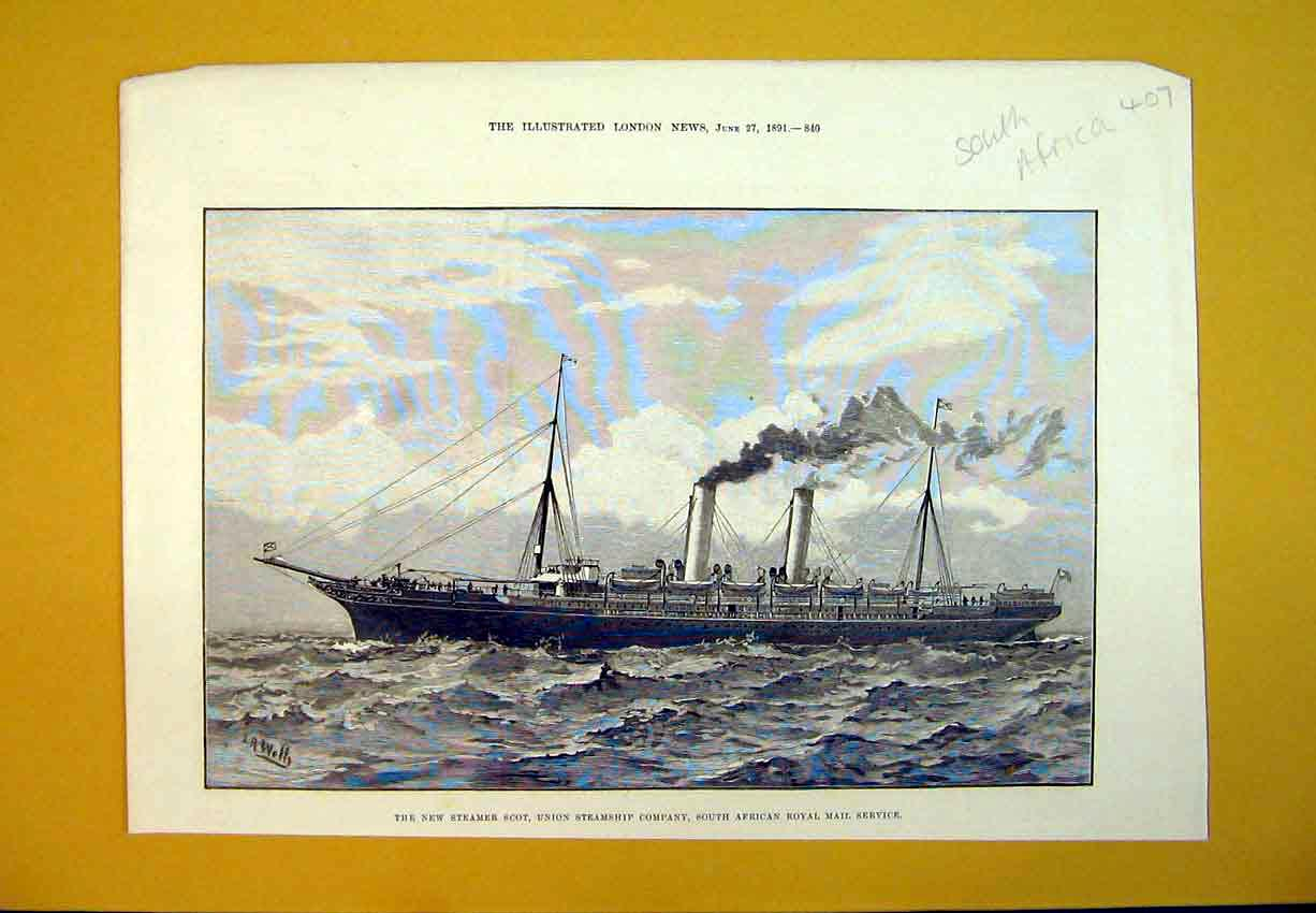 Print 1891 Steamer Ship South African Royal Mail Service 407B388 Old Original