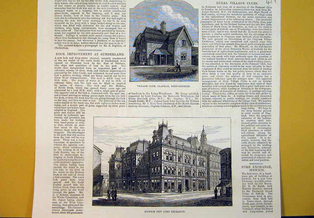 Print 1880 Village Club Clapham Ipswich Corn Exchange Bedford 411B388 Old Original