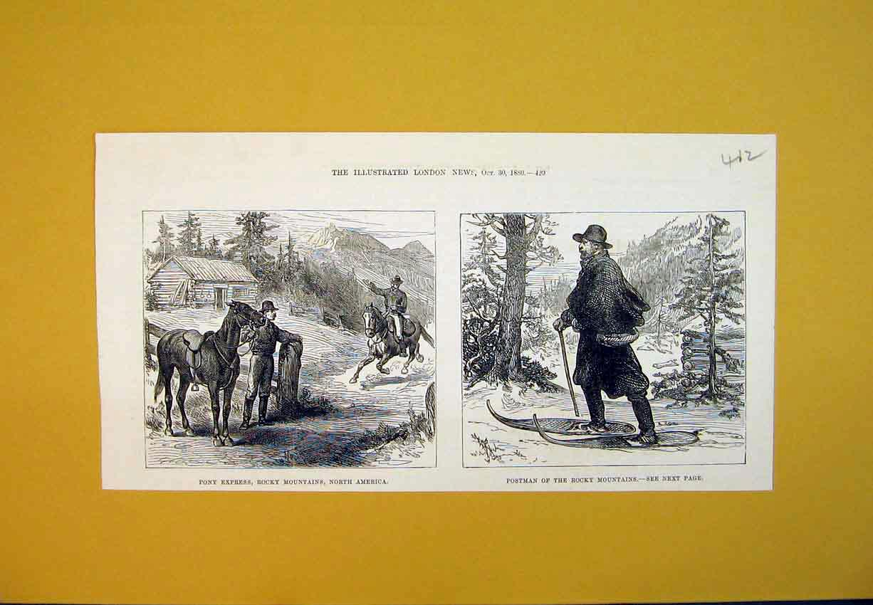 Print 1880 Pony Express Rocky Mountains Postman North America 412B388 Old Original