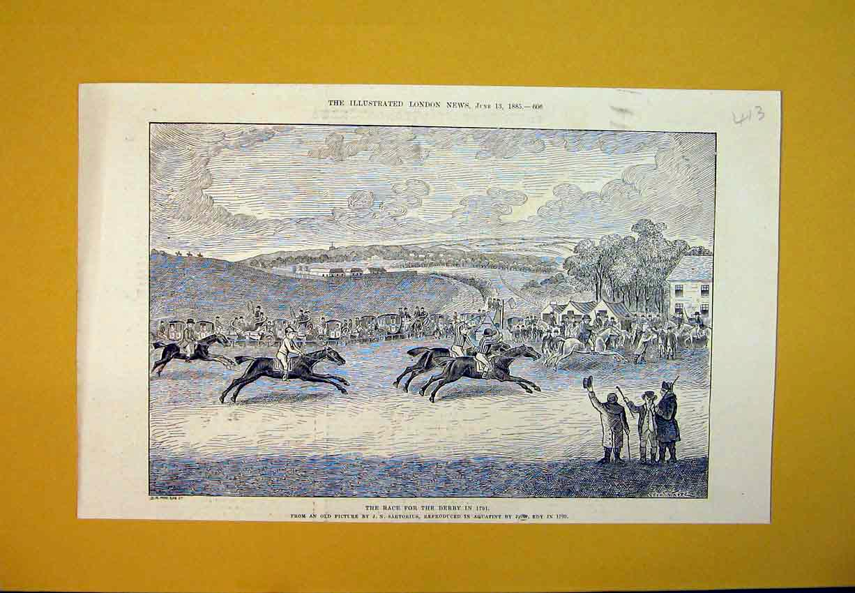 Print 1885 Horse Racing Derby Jocky Sport Country Fields 413B388 Old Original