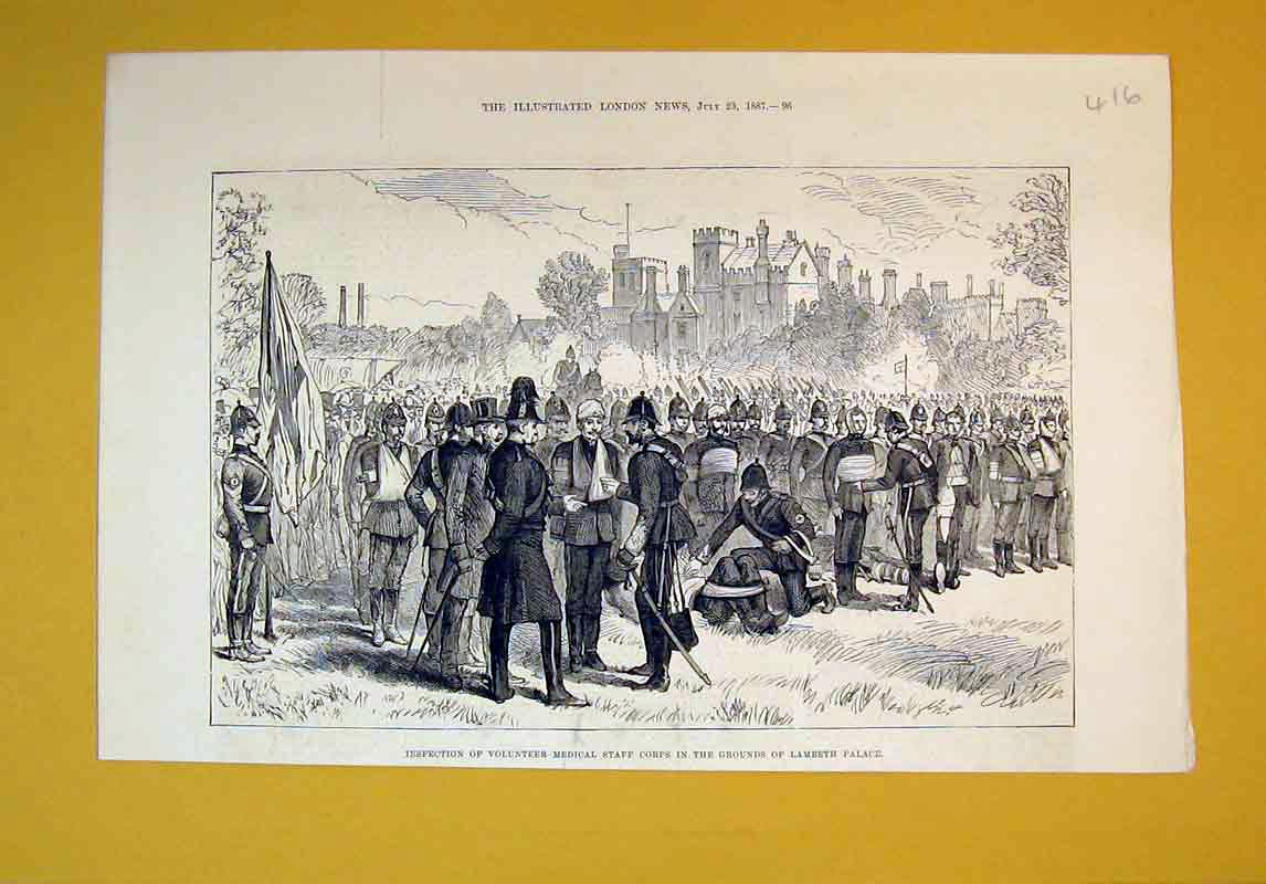 Print 1887 Volunteer Medical Staff Corps Lambeth Palace War 416B388 Old Original
