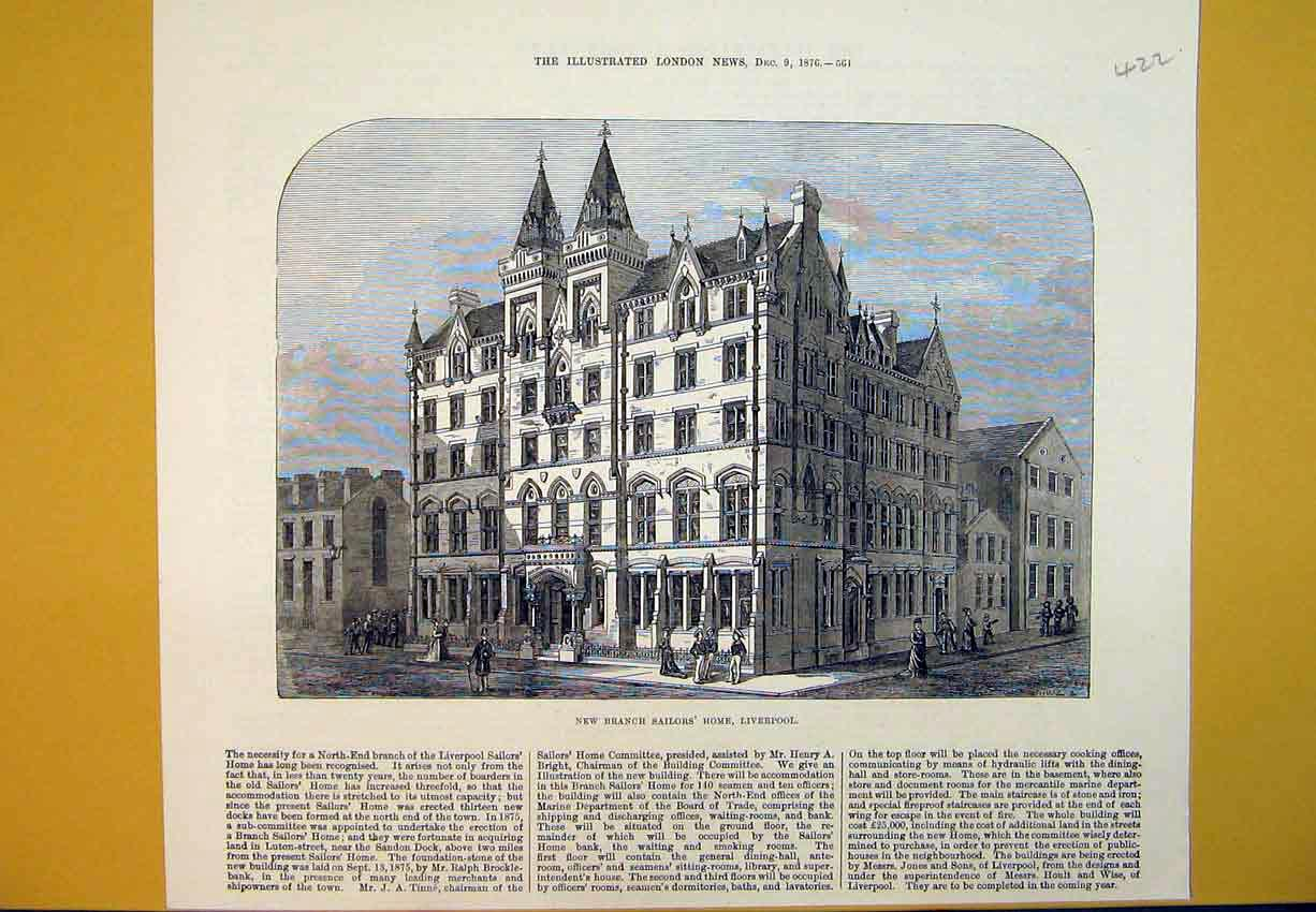 Print New Branch Sailor'S Home Liverpool Building 1876 422B388 Old Original