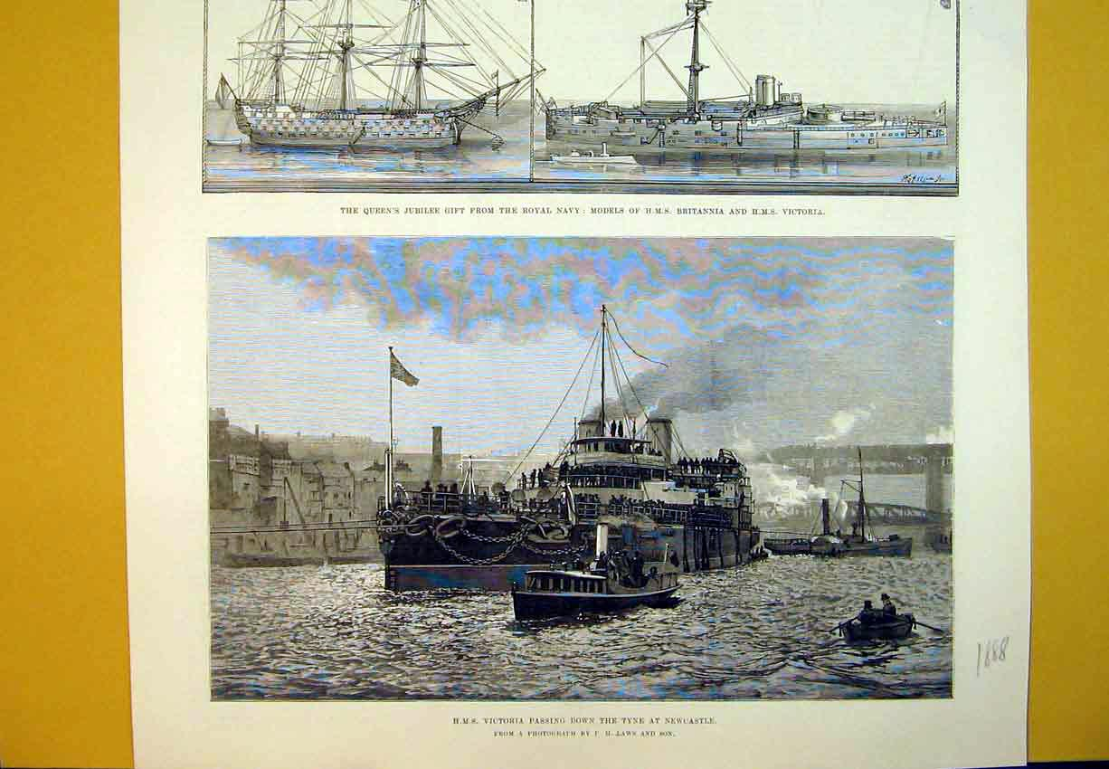 Print 1888 Ship Victoria Tyne Newcastle Britannia Model Navy 427B388 Old Original
