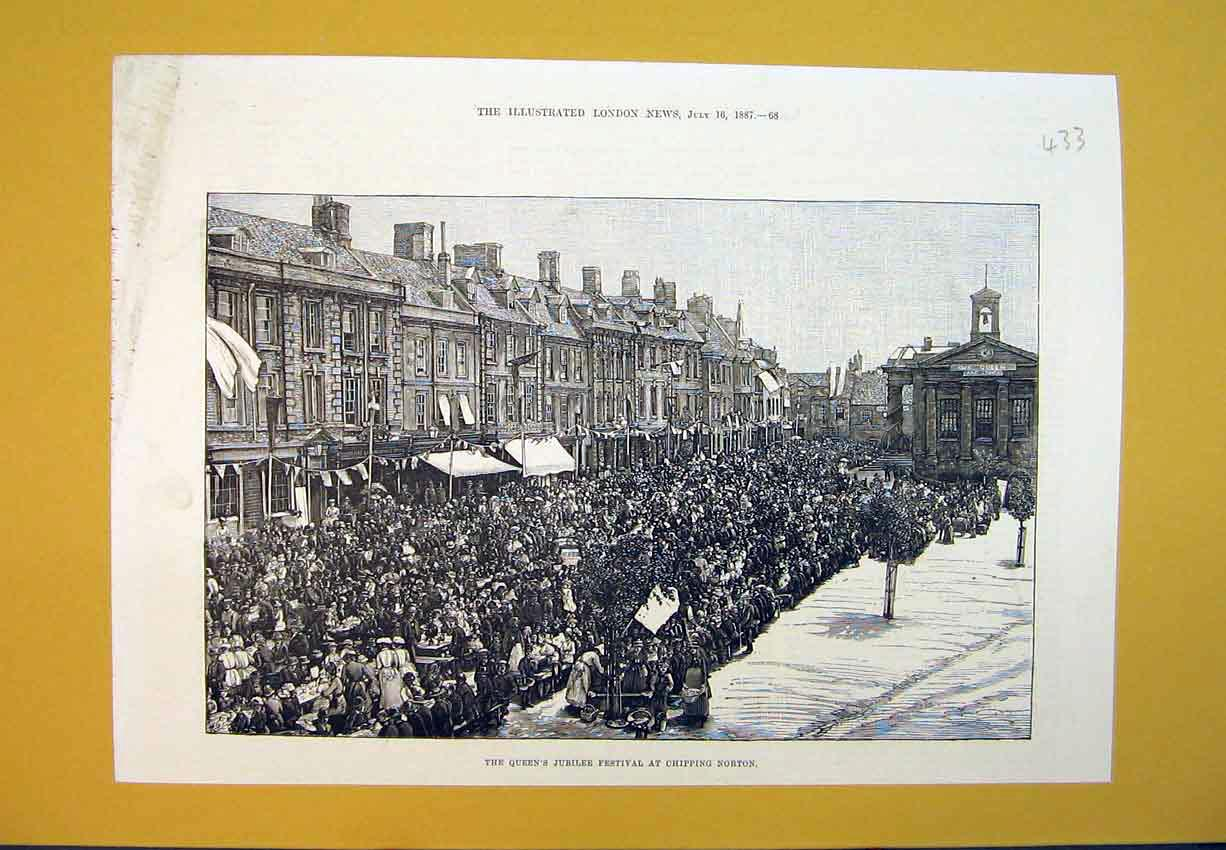 Print 1887 Queen'S Jubilee Festival Chipping Norton Street 433B388 Old Original