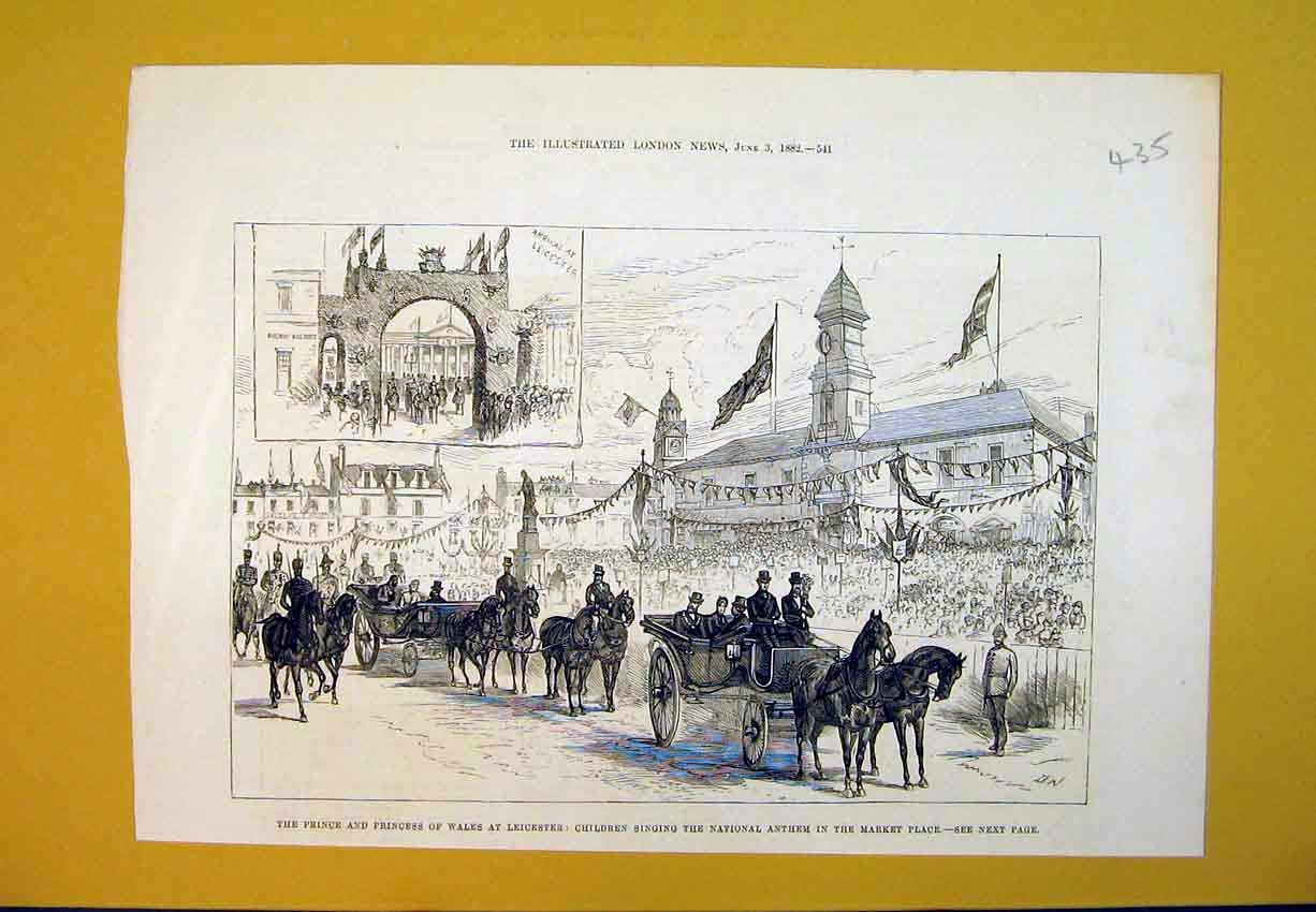 Print Prince Wales Leicester Children Anthem Market Place1882 435B388 Old Original