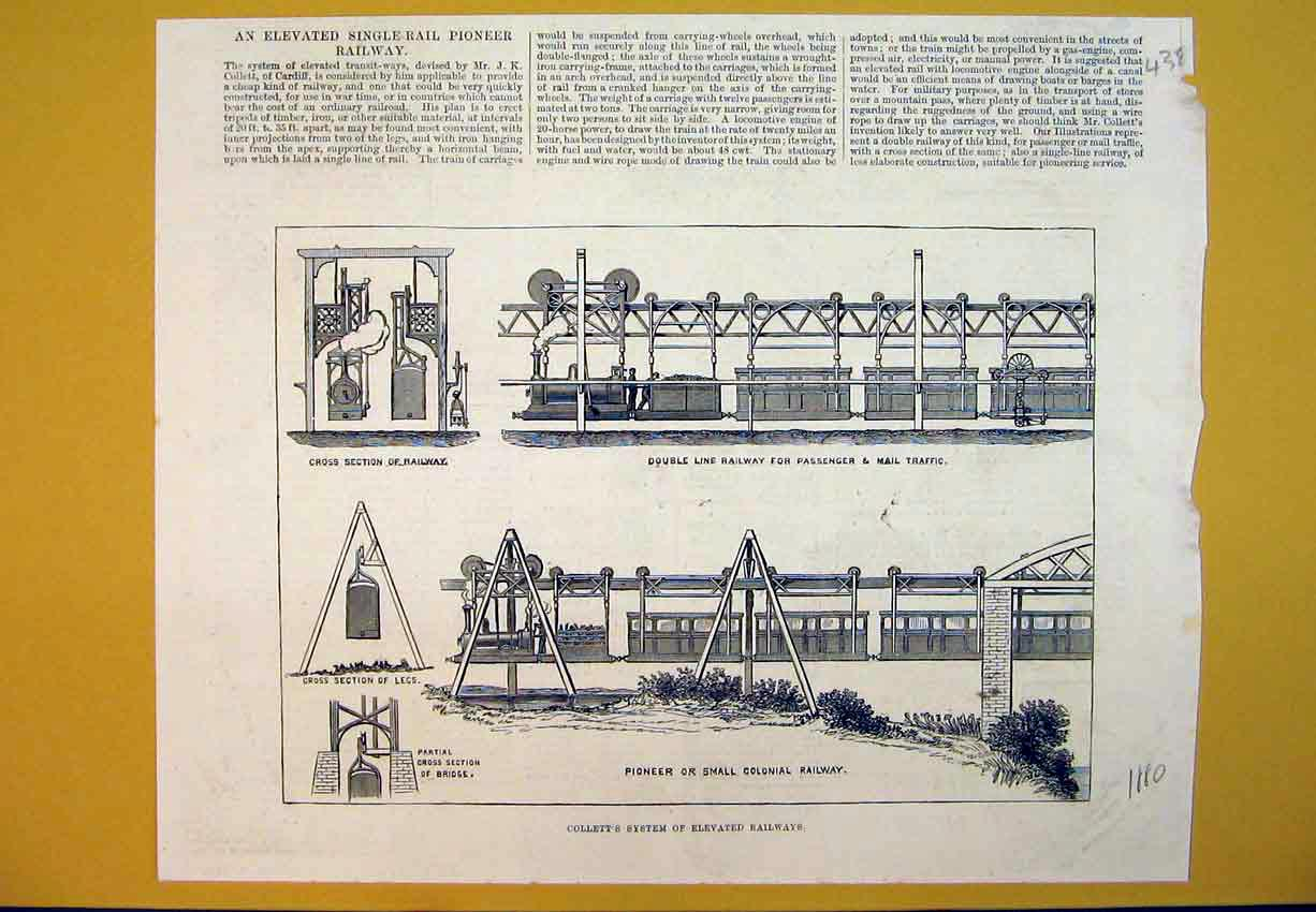 Print 1880 Collett System Elevated Railway Train Colonial 438B388 Old Original