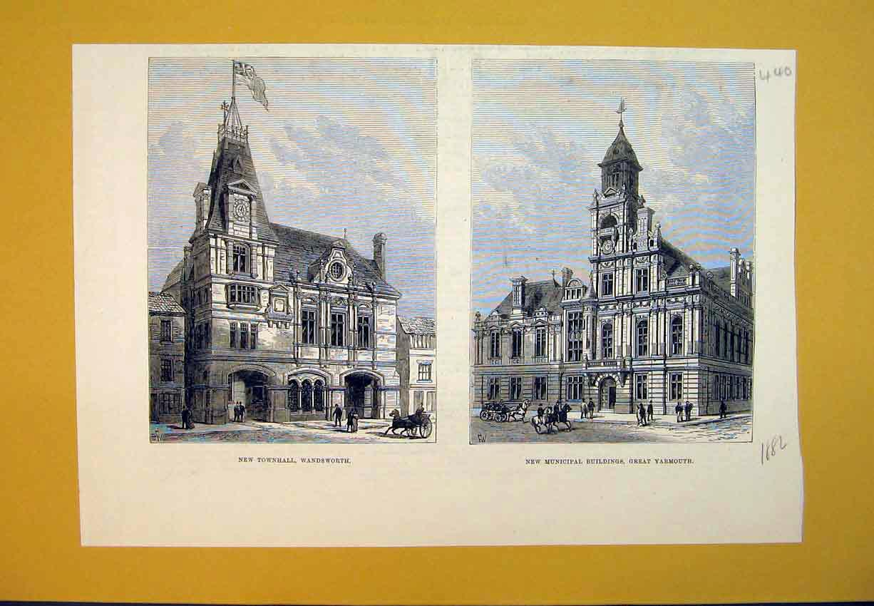 Print *0134 1882 Townhall Wandsworth Municipal Buildings Yarmouth 440B388 Old Original