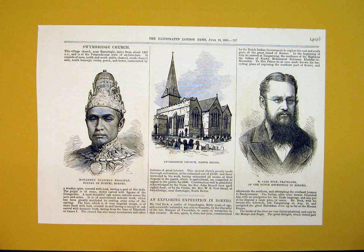 Print 1880 Swymbridge Church Devon Carl Block Khalifat Borneo 441B388 Old Original