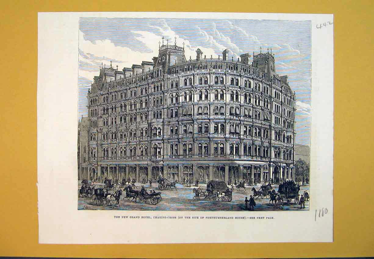 Print 1880 New Grand Hotel Charing Cross Northumberland House 442B388 Old Original
