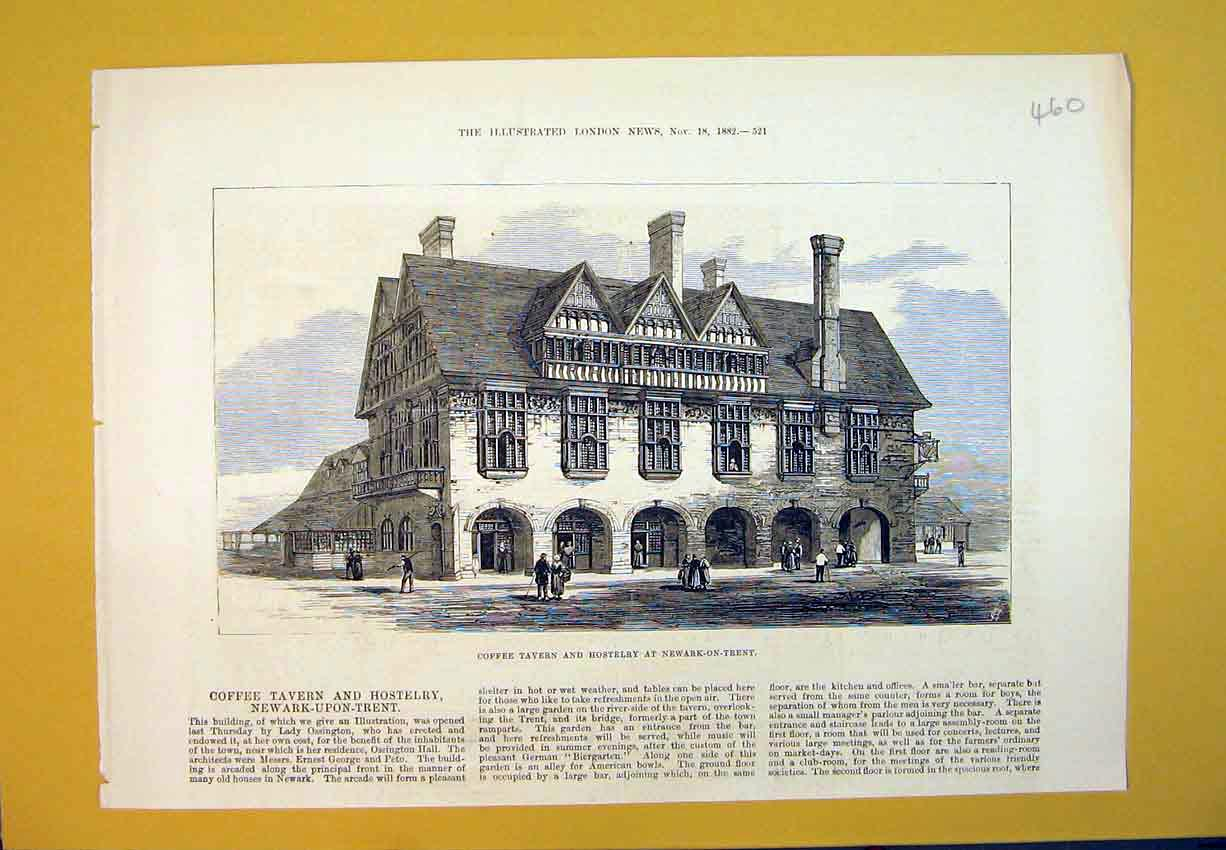 Print *0135 1882 Coffee Tavern Hostelry Newark-On-Trent Building 460B388 Old Original
