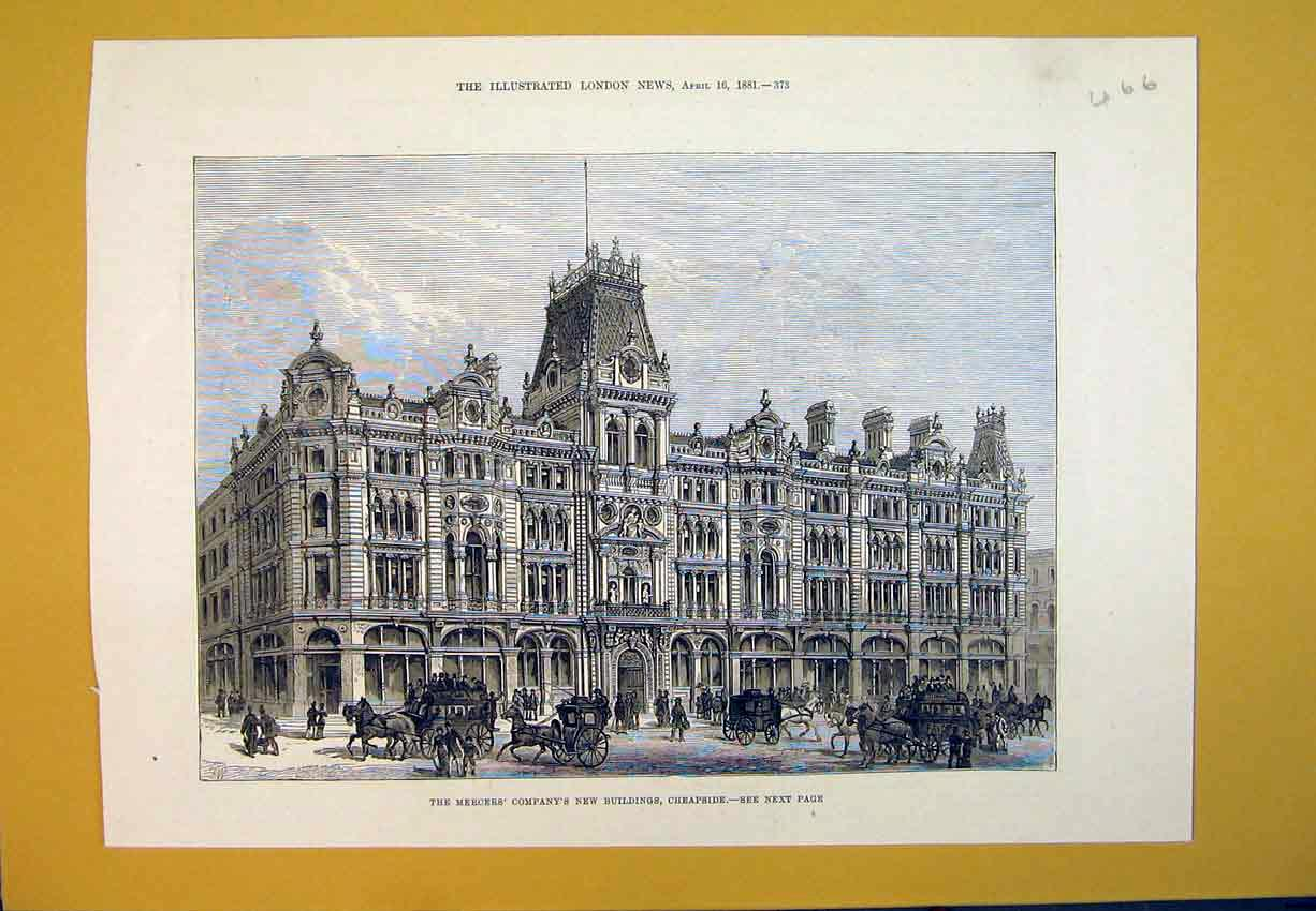 Print 1881 Merchers Company New Buildings Cheapside Horse 466B388 Old Original