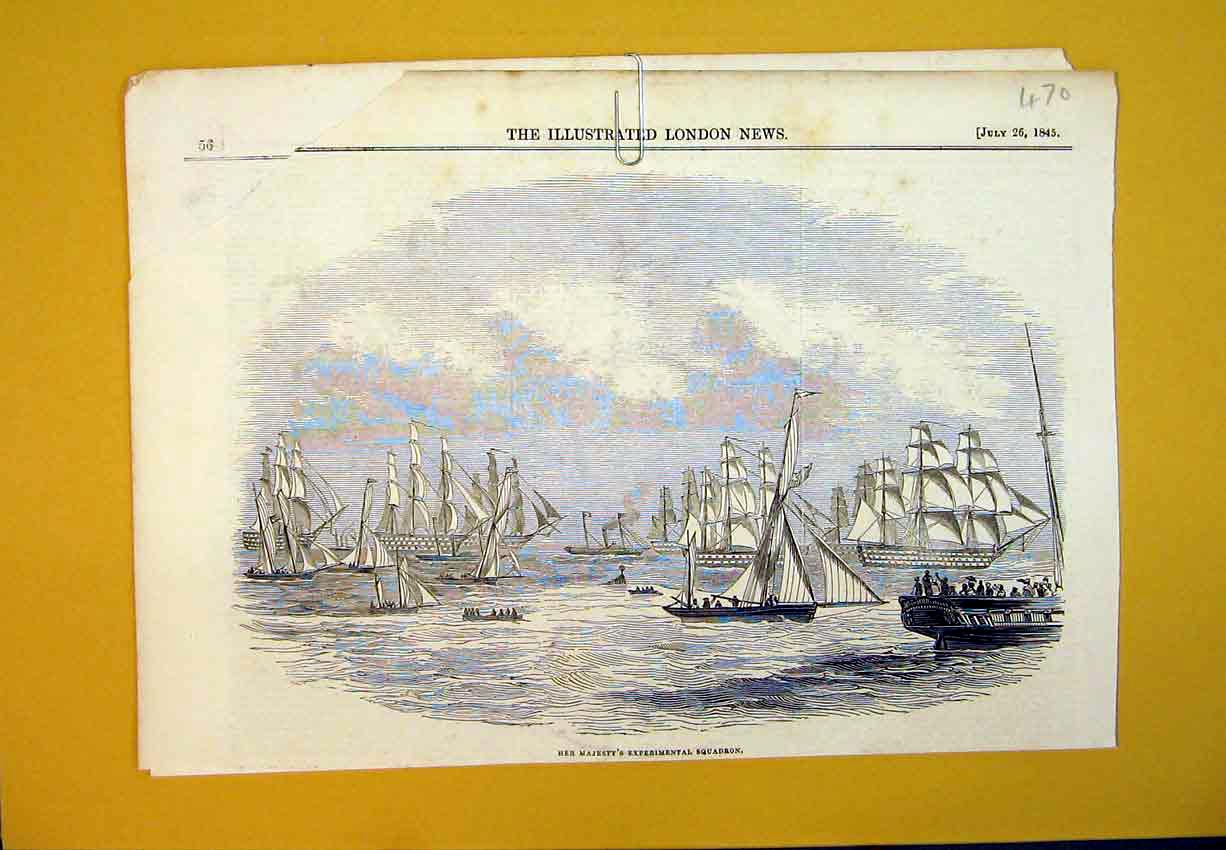 [Print 1845 Majesty Queen Experimental Squadron Sailing Ship 470B388 Old Original]
