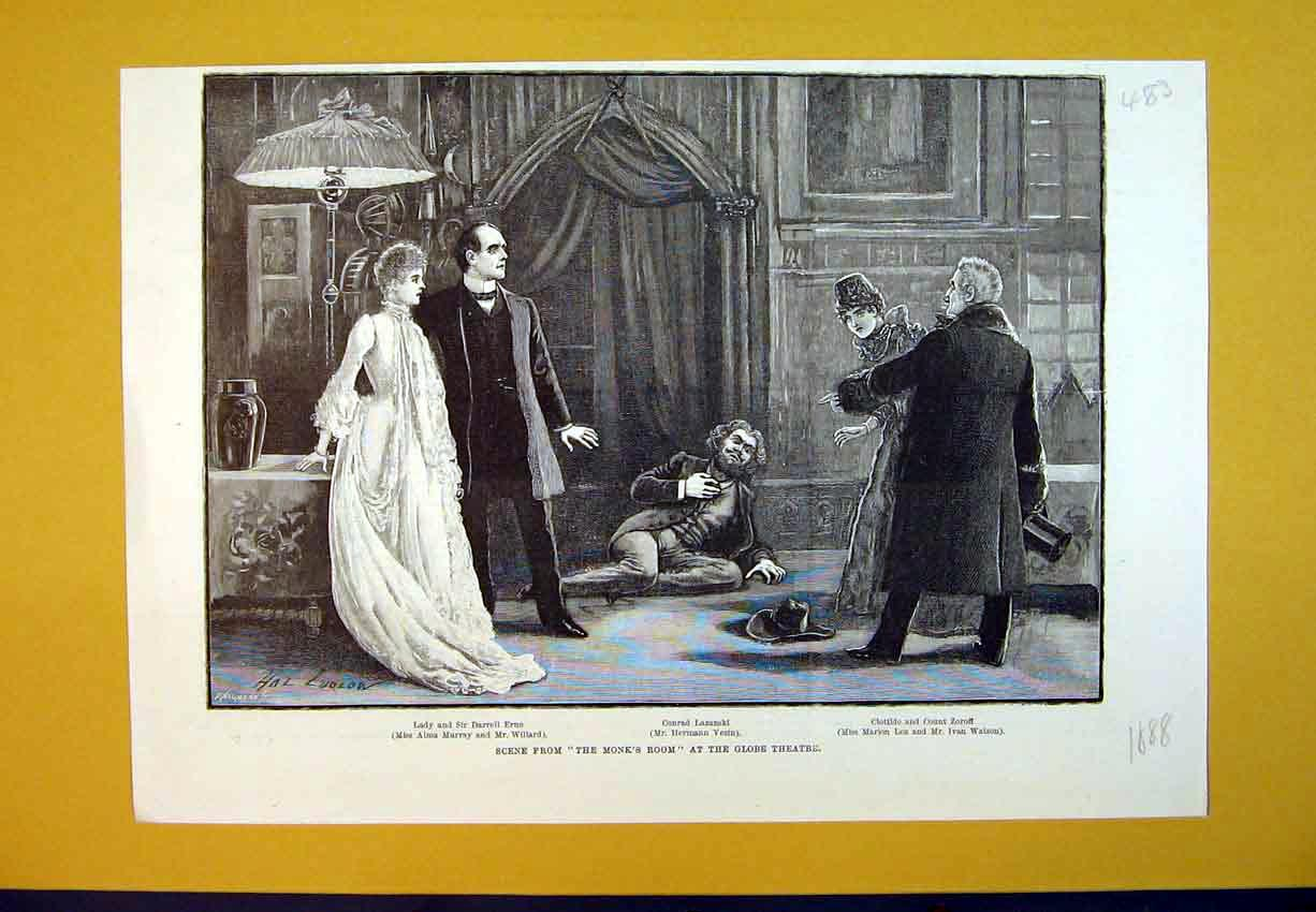 Print 1888 Scene Monks Room Globe Theatre Conrad Lazanski 483B388 Old Original