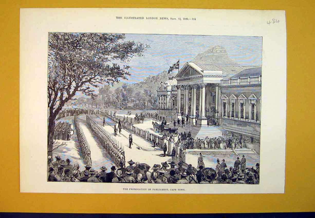 Print 1890 Prorogation Parliament Cape Town Africa Building 484B388 Old Original
