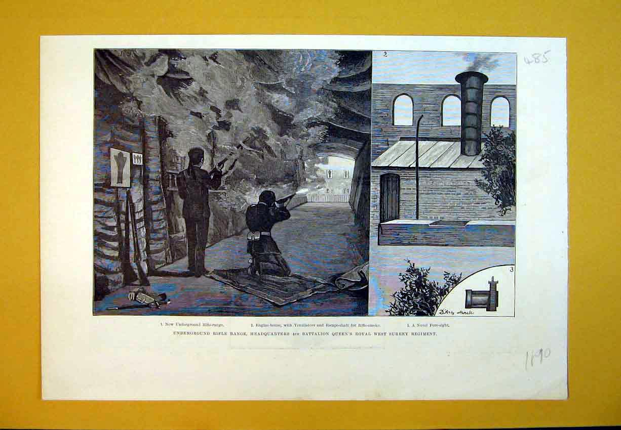 Print 1890 Underground Rifle Range West Surrey Regiment War 485B388 Old Original