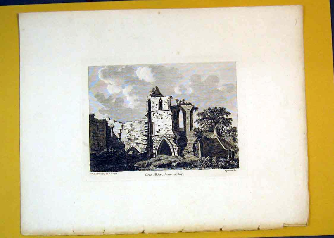 Print *0111 1785 View Ruins Cleve Abbey Somersetshire England 517B389 Old Original