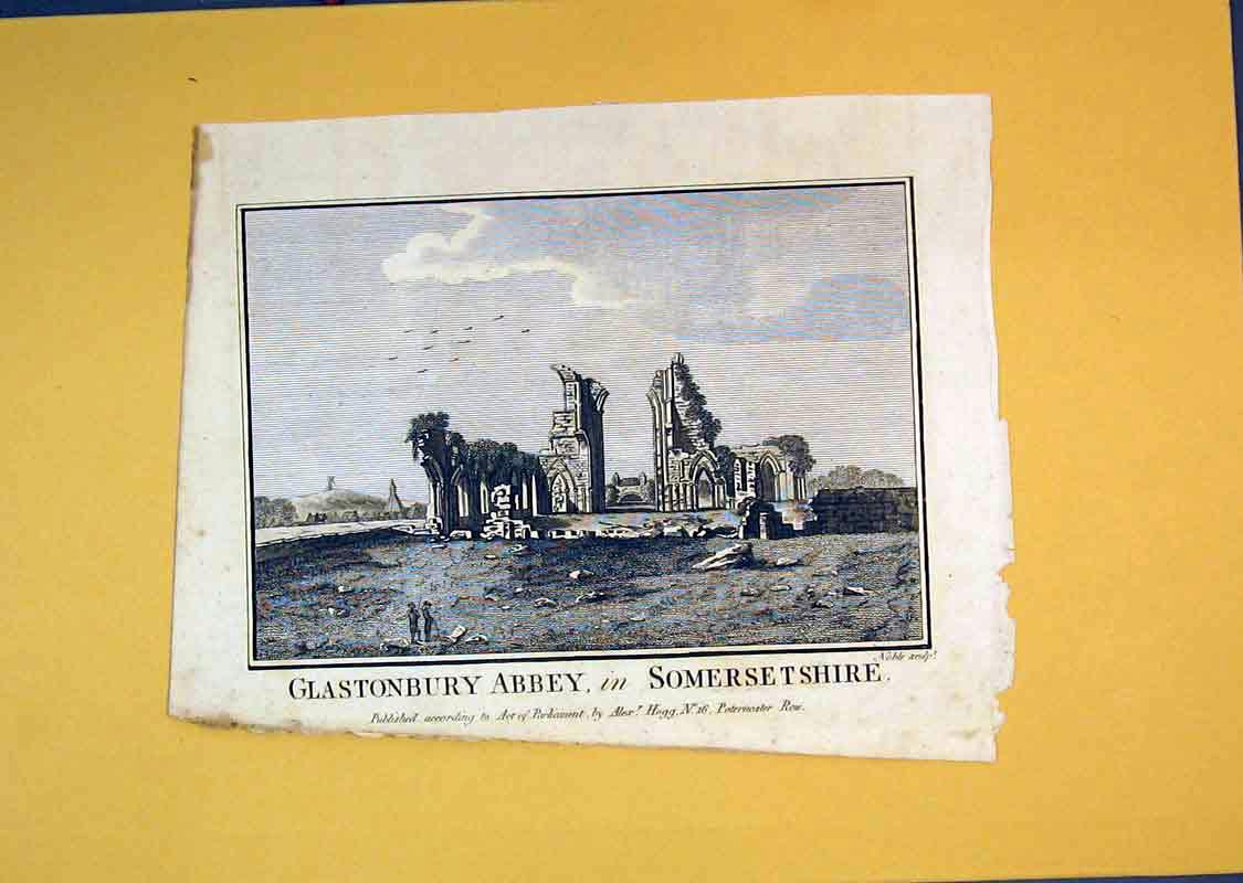 Print *0109 C1850 View Ruins Glastonbury Abbey Somersetshire Noble 519B389 Old Original