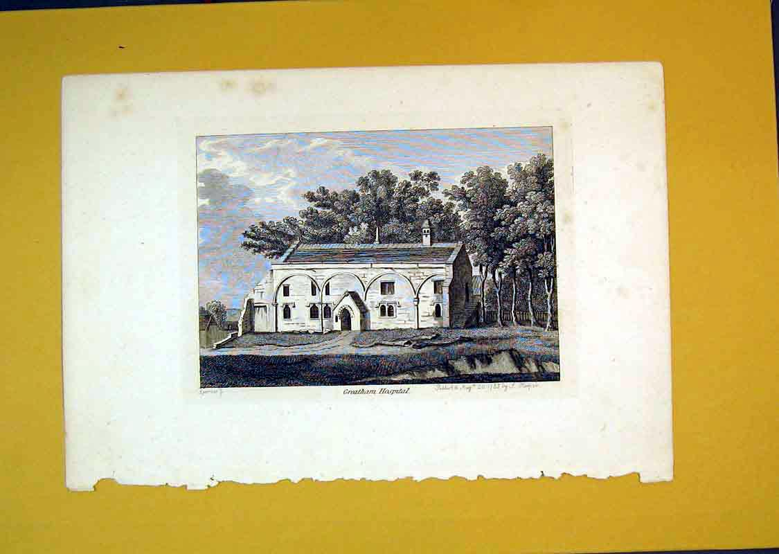 Print 1785 View Greatham Hospital Building Sparrow Hooper 539B389 Old Original