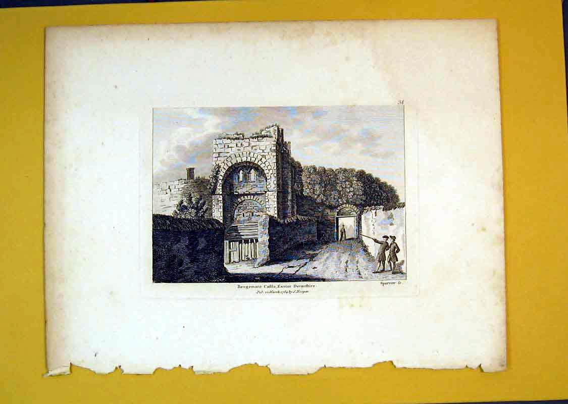 Print 1784 View Rougemont Castle Exeter Devonshire England 542B389 Old Original