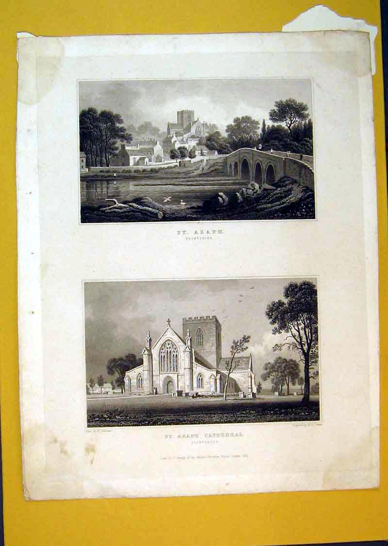 Print 1831 View St Asaph Flintshire Cathedral 546B389 Old Original
