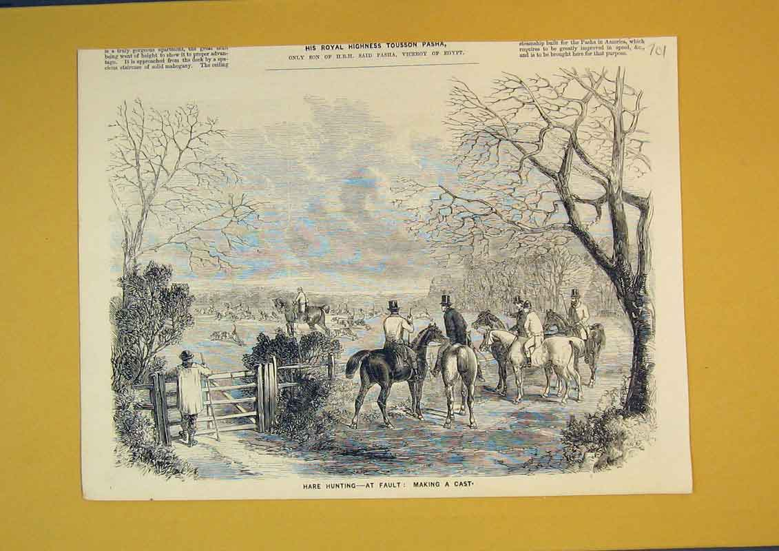 Print Hare Hunting Sport Horses Hounds Men Dogs 701B390 Old Original