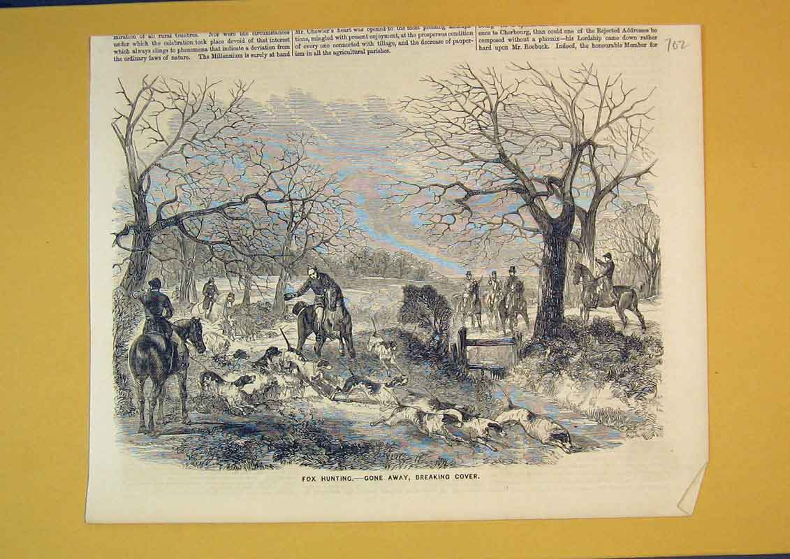 Print Fox Hunting Hounds Horses Sport Country 702B390 Old Original