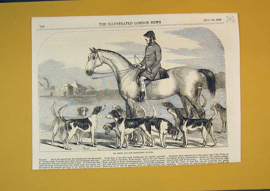 Print 1856 Smith Brocklesby Hounds Dogs Horses Men Sport 708B390 Old Original