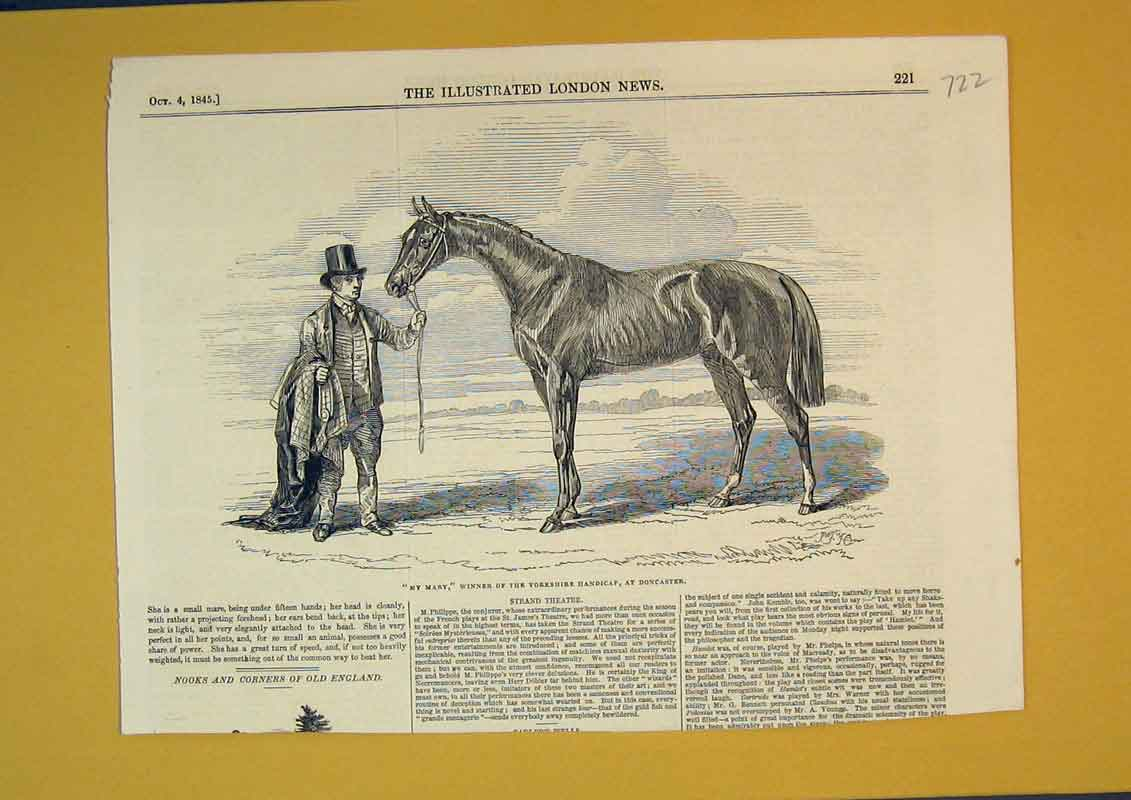 Print 1845 Race Horse My Mary Yorkshire Handicap Doncaster 722B390 Old Original