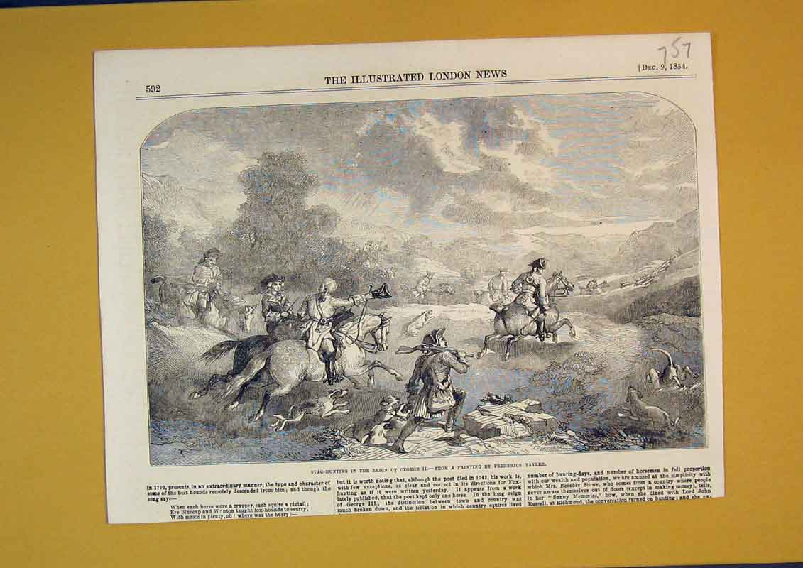 Print 1854 Stag Hunting George Men Horse Sport Hounds Dogs 757B390 Old Original