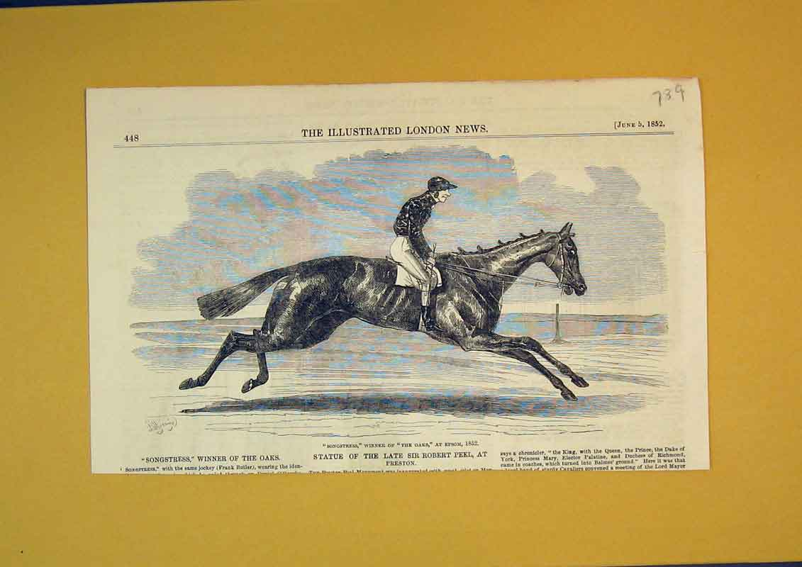 Print 1852 Race Horse Songstress Oaks Epsom Frank Butler 789B390 Old Original