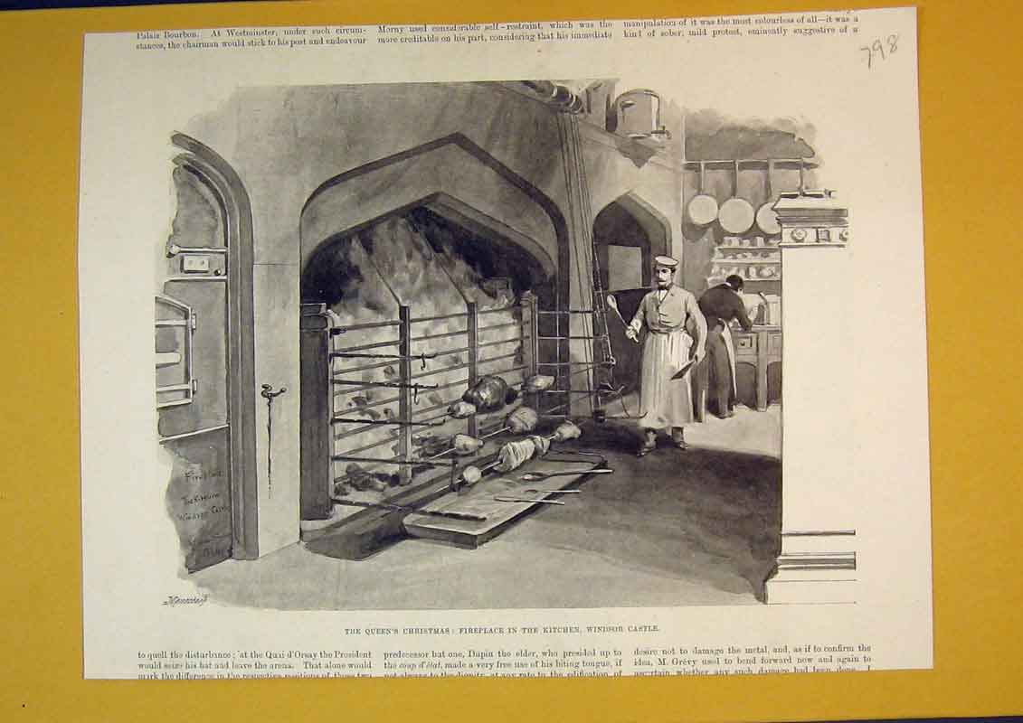 Print Queen'S Christmas Roasting Fireplace Windsor Castle 798B390 Old Original