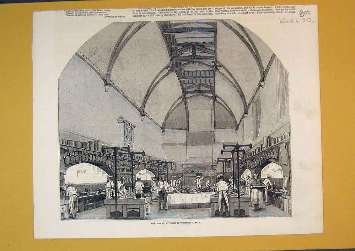 Print Interior View Royal Kitchen Windsor Castle Queen 800B390 Old Original