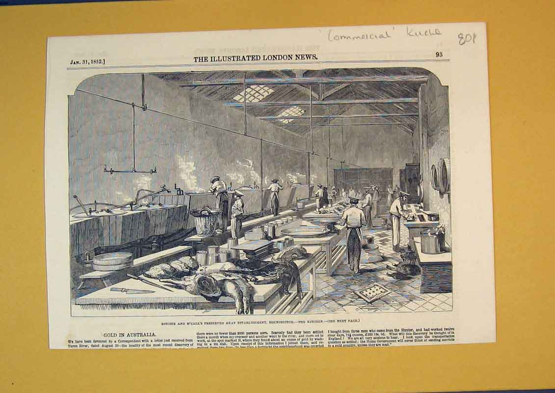 Print 1852 Ritchie Meat Factory Houndsditch Kitchen Men Work 801B390 Old Original