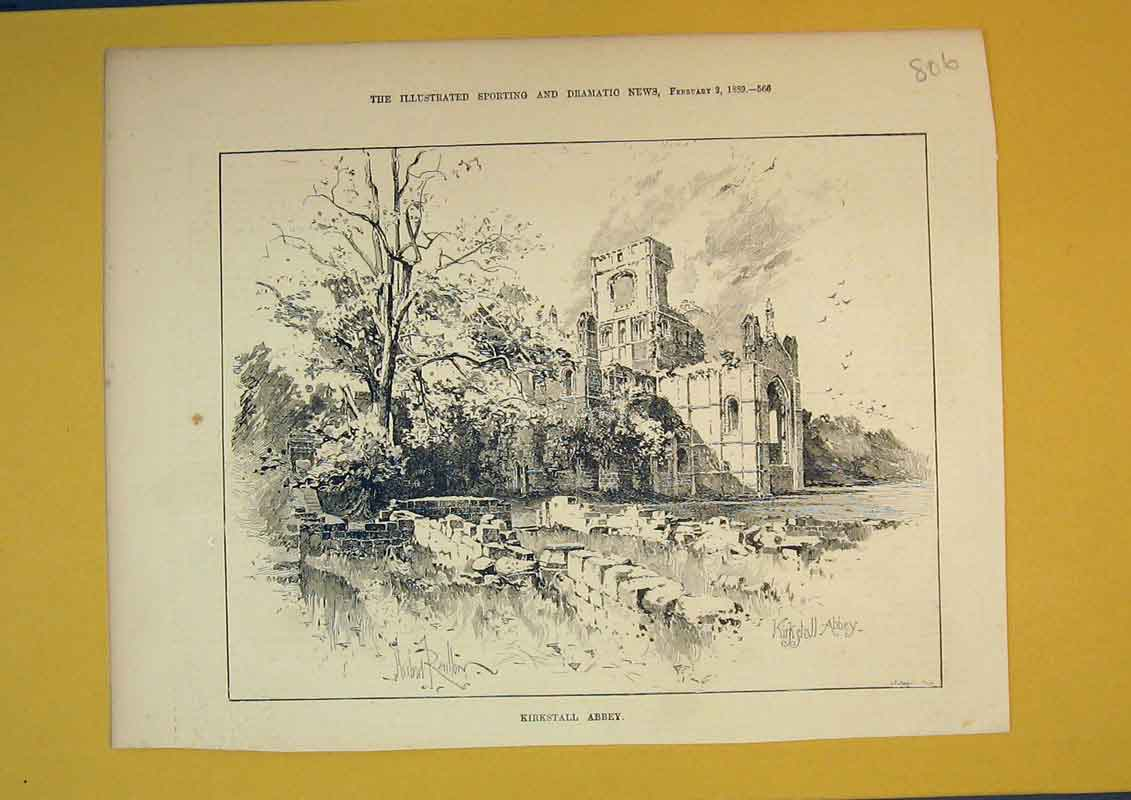 Print 1889 View Kirkstall Abbey Ruins Country 806B390 Old Original